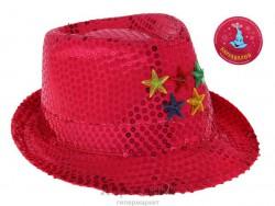 Карнавал шляпа розовая со звездочками световая 15*28*25