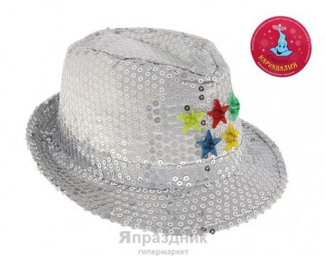 Карнавал шляпа серебряная со звездочками световая 15*28*25