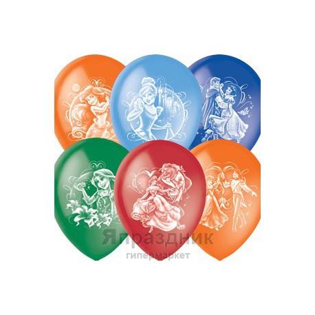 """M 12""""/30см Пастель+Декоратор (растр) 2 ст. рис Дисней Принцессы 100шт шар латекс"""