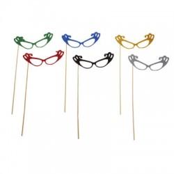 Аксессуары для фотосессии на палочке очки, цвета МИКС 301824