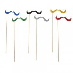 Аксессуары для фотосессии на палочке усы длинные, цвета МИКС 301838