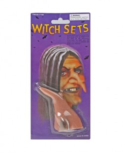 прикол нос ведьмы с бородавкой темный на блистере 10 см 317111