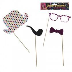 Аксессуары для фотосессии в горошек: шляпа, трубка, очки, бабочка