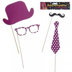 Аксессуары для фотосессии фиолетовые в горошек: шляпа, галстук, очки, усы