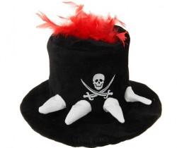 Карнавальная шляпа с черепом и красными перьями 35см