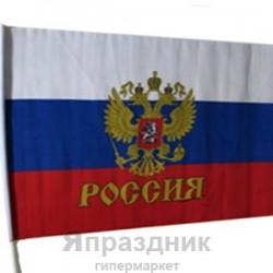 "KR Флажок ""Россия"" средний 30см х 50см (полиэфирный шелк, пластик)"