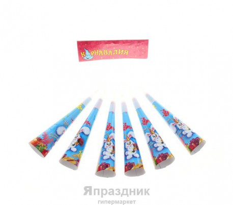 """Дудка-гудок 19 см """"С днем рождения"""" зайка (набор 6 шт)"""