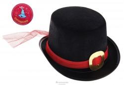 карнавал шляпка цилиндр черная с красным ремешком 13*24*28 327013