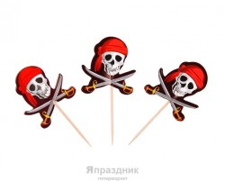"Пика для канапэ ""Череп Пирата"" (набор 12 шт) 333521"