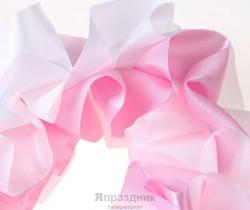 Гирлянда бантовая, бело-розовая 300 х 10 см