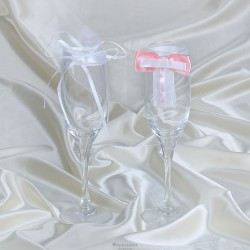 Комплект декора на бокалы бантики розовый и цветок белый 833982