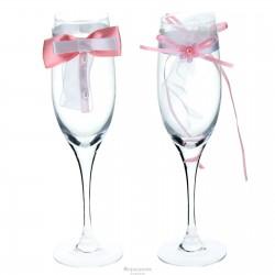 Комплект декора на бокалы бантики и цветок 100890