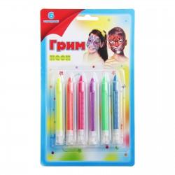 Грим карандаши для лица и тела, 6 неоновых цветов 150131