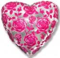 Шар Сердце Розы фуксия 48см
