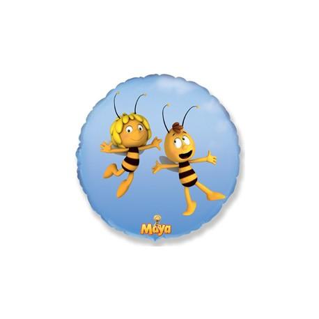Шар (18''/46 см) Круг, Летящая пчела Майя, Голубой, 1 шт.