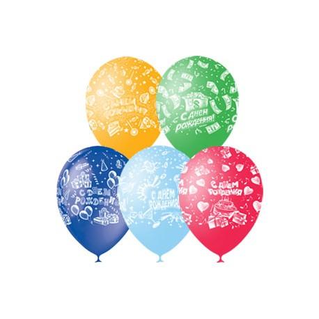 """M 12""""/30см Пастель+Декоратор (растр) 5 ст. рис С Днем Рождения 25шт шар латекс"""