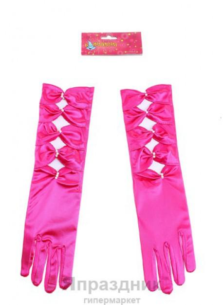 Карнавальные перчатки ажурные два цвета 35 см