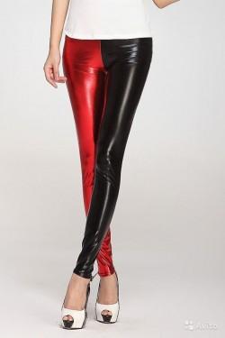 Блестящие черно-красные леггинсы один размер