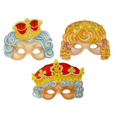"""Набор карнавальных масок, """"Царская семья"""", 3 шт, 24,7 х 19,1 см 1126570"""