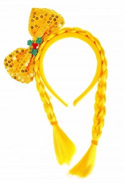 ободок бант блеск с двумя косичками цвет желтый 329672