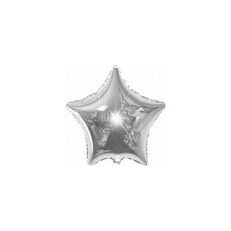 Шар (9''/23 см) Мини-звезда, Серебро, 1 шт.