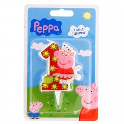 Свеча для торта Цифра 1 Свинка Пеппа