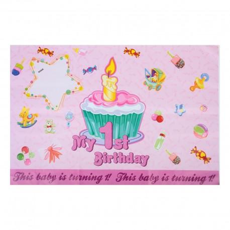 """Плакат с поздравлениями """"Первый день рождения!"""" девочка 335450"""
