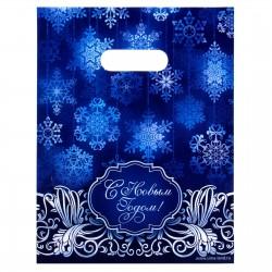 """Пакет подарочный полиэтиленовый """"Снежинки"""", 18,7 х22.7 см 1045004"""