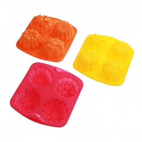 "Форма для выпечки 4 ячейки 16х14 см ""Кексик"", цвета МИКС 114006"