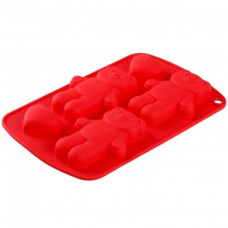 "Форма для выпечки 5 ячеек ""Мишки с сердцами"" 21х13х1,5 см цвета МИКС 123144"