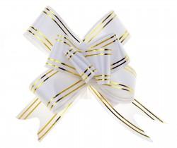 Бант-бабочка №3 золотая полоса, белый 817868