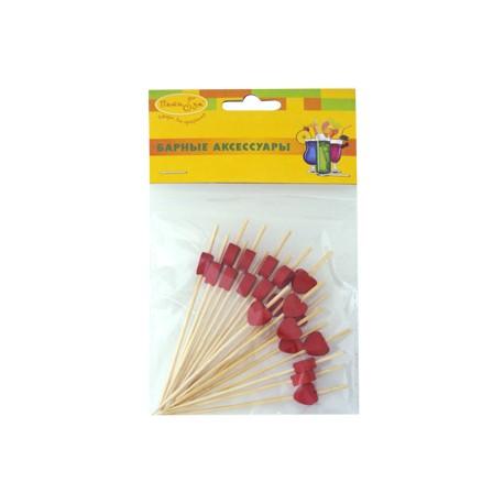 BA Шпажки для канапе бамбуковые Сердца красные 20шт