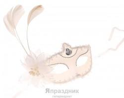 Карнавал маска белая с цветком три пера 10*18