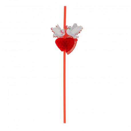 """Трубочка для коктейля гофре """"С любовью"""" голуби (набор 6 шт) 1023134"""