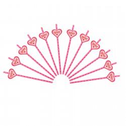 Набор трубочек Горошек розовые 12шт