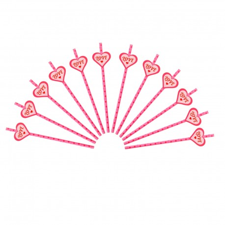 Трубочка для коктейля розовая в горох (набор 12 шт, 12 наклеек) 333514