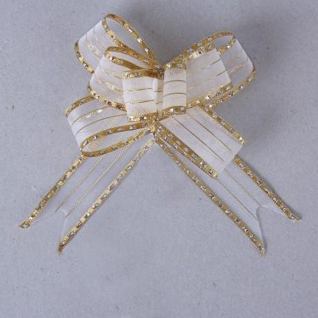 Бант-бабочка №2,7 органза с серебряными капельками на золотой полосе, белый 828198