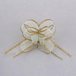 Бант-бабочка №2,7 органза с серебряными капельками на золотой полосе, голубой 828197