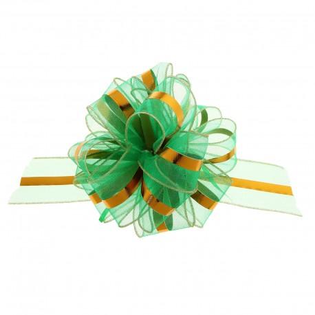 Бант-шар №6 органза золотая полоса, зелёный 813653