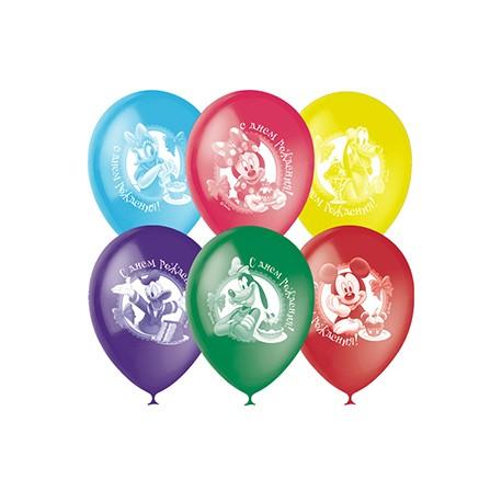 """M 12""""/30см Пастель+Декоратор (растр) 2 ст. рис Дисней С Днем Рождения 50шт шар латекс"""