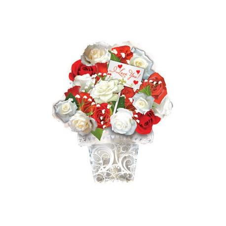 Шар (21'/53 см) Фигура, Букет из красных и белых роз, Белый, 1 шт.