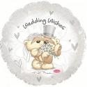 Шар белый круглый Свадебные пожелания 46см