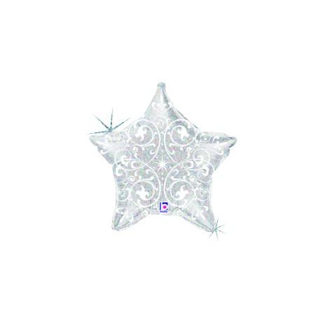 Шар (21'/53 см) Звезда, Узоры, Серебро, 1 шт.