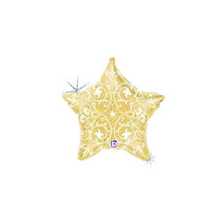 Шар (21'/53 см) Звезда, Узоры, Золото, 1 шт.