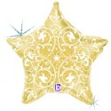 Шар золотые узоры Звезда 53см