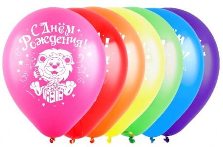 Т 12 С Днем рождения, Зверята (3 дизайна), Ассорти Пастель, 2 ст. / 100 шт. / (Турция)