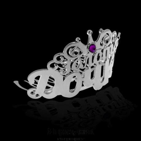 """Диадема на гребешке """"Золотая дочка"""", цв серебр. с фиолет стразой, 7 х 5 х 5,3 см"""