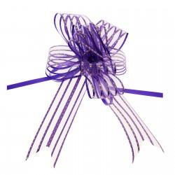 Бант-бабочка №5 органза золотой горох на фиолетовом 828184