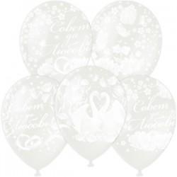 """M 12""""/30см Декоратор (растр) TRANSPARENT 5 ст. рис Совет да Любовь 25шт шар латекс"""