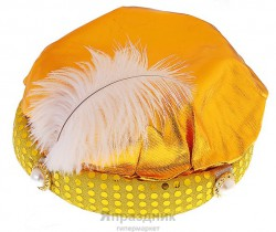 Карнавальная шляпа тюрбан с пером золото 12*20*20